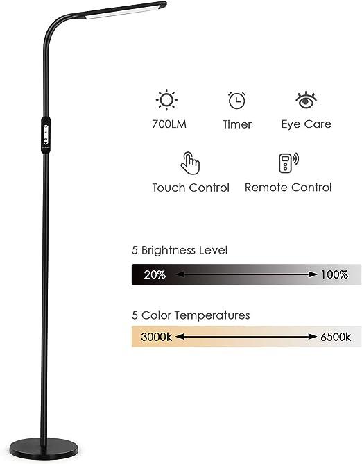 lampada a LED da 12 W con dimmer e 3 temperature di colore lampada piantana con luce sicura per gli occhi per lavorare AUKEY Lampada da terra Manopola in metallo leggere e rilassarsi