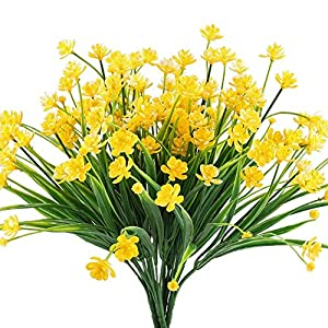 GZCY Artificial Fake Flowers, 8pcs Faux Yellow Daffodils Greenery Shrubs Plants Plastic Bushes Indoor Outside Hanging Planter office Wedding Cemetery Decor 10