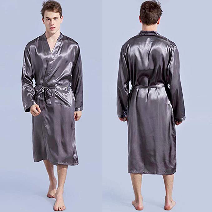 NINGNETI Bata para Hombre Pijamas De SatéN Kimono Bata De BañO Bata: Amazon.es: Ropa y accesorios