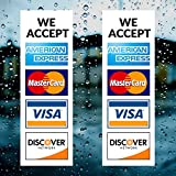 """Credit Card Vinyl Sticker Decal - 2 PACK - We Accept - Visa, MasterCard, Amex and Discover - 9"""" x 4"""" Vinyl Decal For Window - Shop, Cafe, Office, Restaurant"""