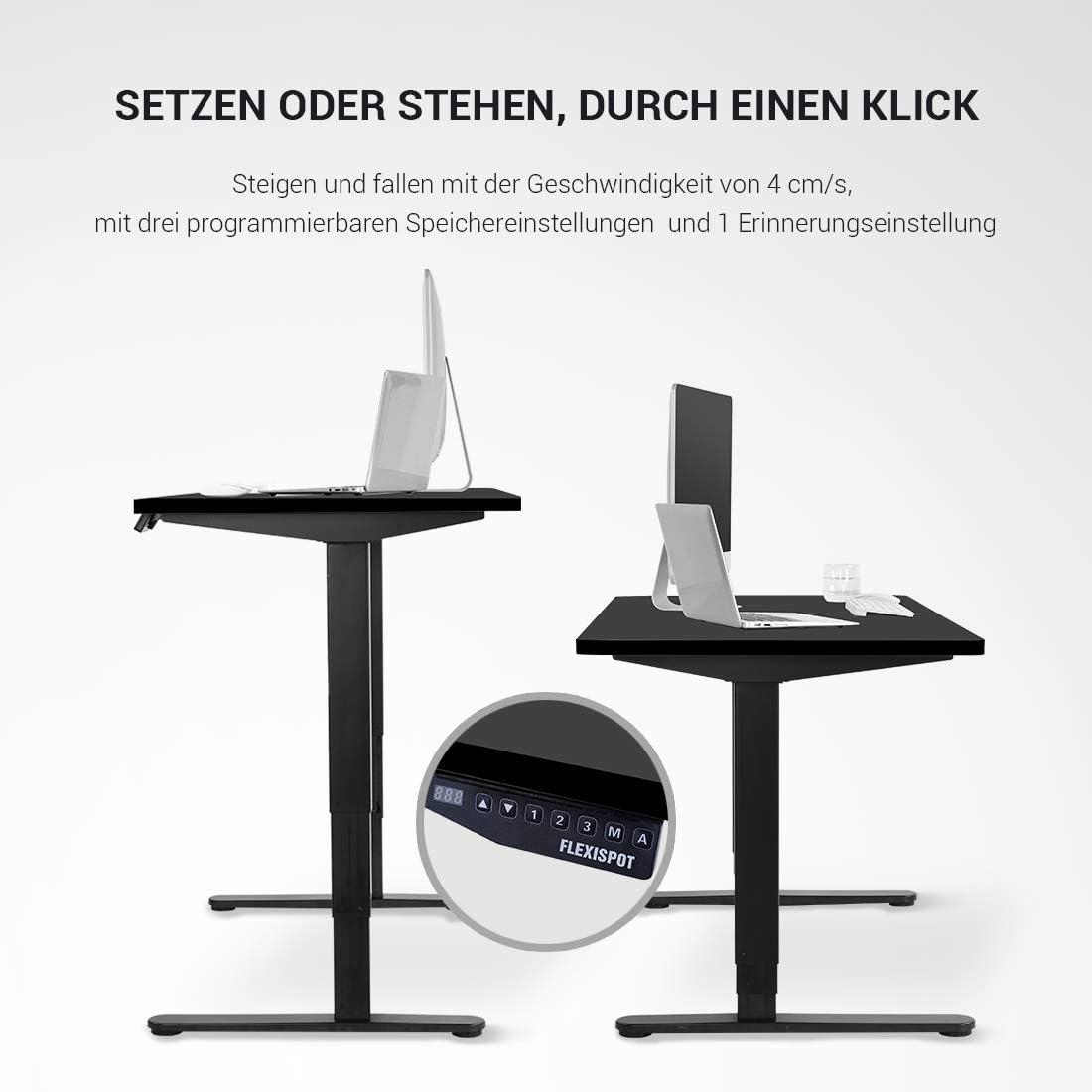Ahorn+Wei/ß 3-Fach-Teleskop mit der Tischplatte Mit Memory-Steuerung und Softstart//-Stop SANODESK H/öhenverstellbarer Schreibtisch Elektrisch h/öhenverstellbares Tischgestell