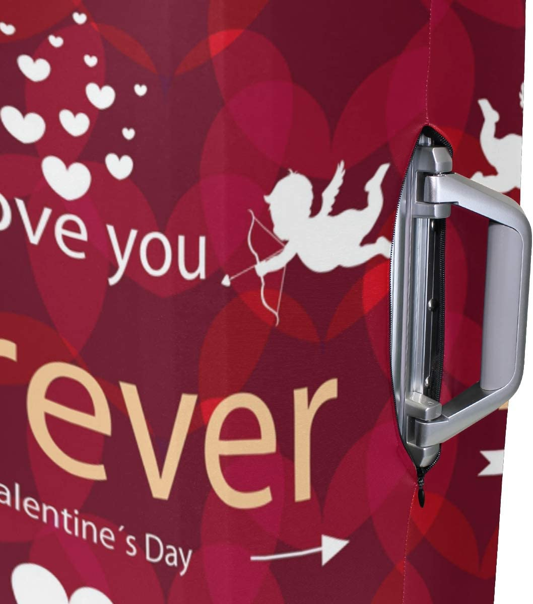 FOLPPLY Happy Valentines Day Love Forever Luggage Cover Baggage Suitcase Travel Protector Fit for 18-32 Inch
