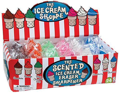 Raymond Geddes Ice Cream Shoppe Scented Eraser with Pencil Sharpener, 24 Pack (68662) from Raymond Geddes