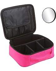 Anself Lightweight Cosmetic Bag Makeup Bag Portable Makeup Bag Storage Bag with Padded Handle Travel Makeup Cosmetic Bag Multifunctional Bag for Traveling and Business Trip