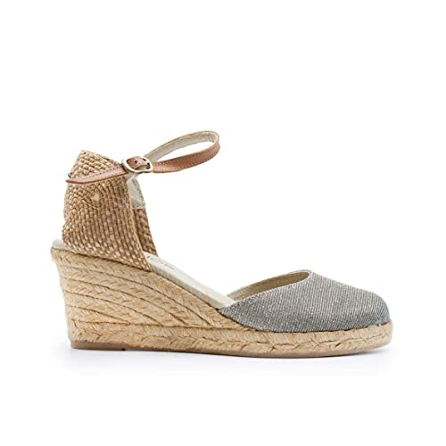 ZAPSHOP 625 Alpargatas 100% Piel Vuelta de cuña Cerradas al Dedo para Mujer de Color Plata Talla: 41: Amazon.es: Zapatos y complementos