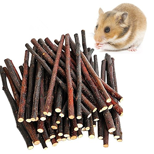 (MAOM Apple Sticks Pet Snacks Chew Toys for Guinea Pigs Chinchilla Squirrel Rabbits Parrot Hamster Degus Gerbil (100g))