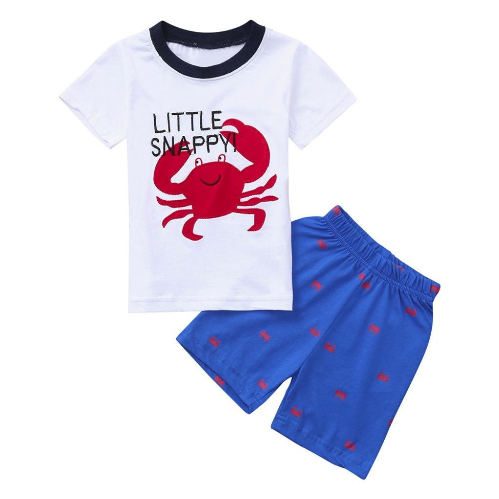 Baby Boys Outfit,Cute Crab Letter Printed Tops and Crab Print Shorts Pants 2PCS Outfit Summer Holiday Beach Clothes for 0-6 Years Old Baby Boys