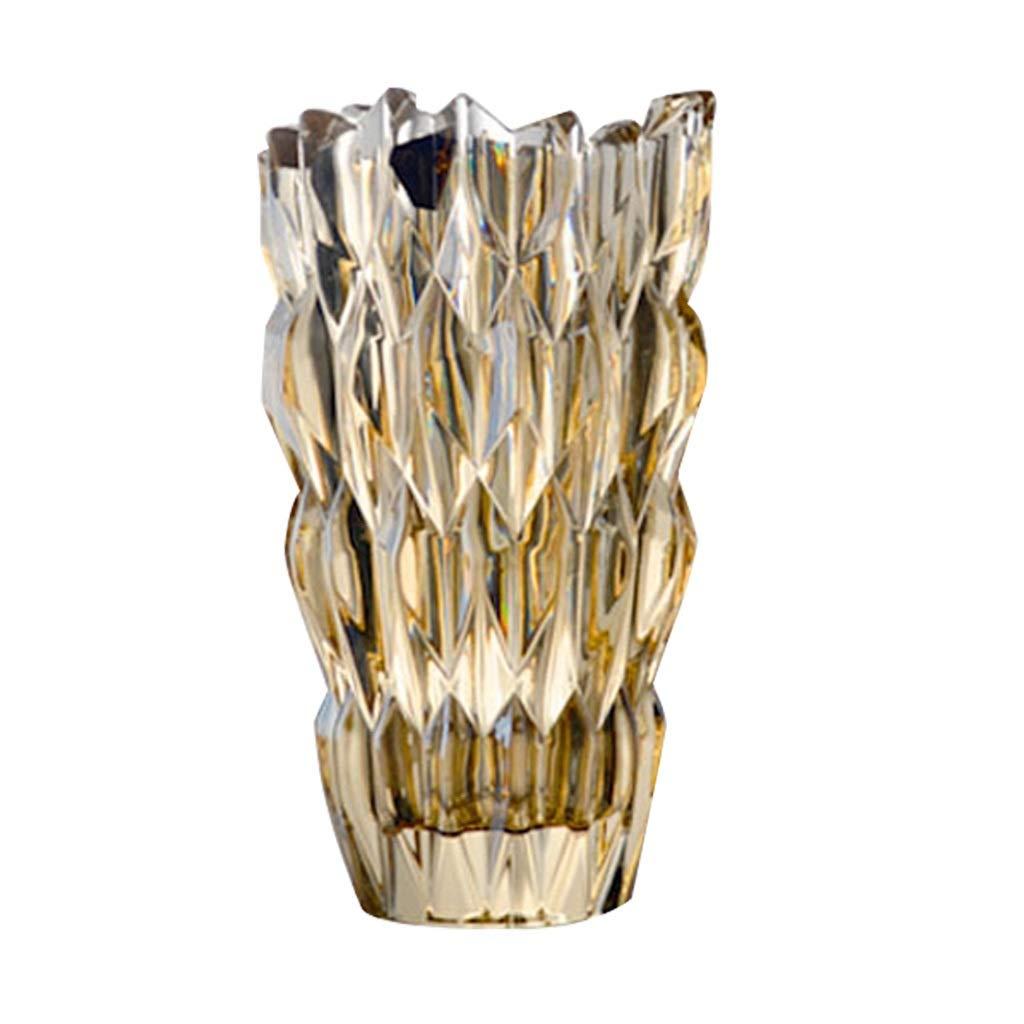 LIULIJUN 美しいゴールデンクリスタルアイスランドの花瓶シンプルなクリスタルガラスの花瓶の花瓶のリビングルームの家の装飾飾り B07T58LRKW