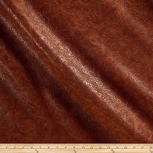 Embossed Suede Leather - Plastex Fabrics 0488611 Faux Leather Textured Western Bourbon Yard
