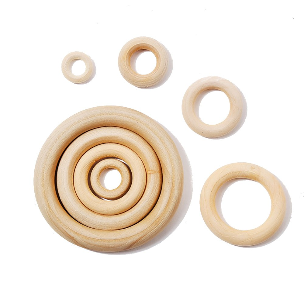 20pcs Unfinished Blank Wooden Teether Rings Maple Wood Baby Teething Craft DIY Toys Teething Rings, Ring Throwing Games and More