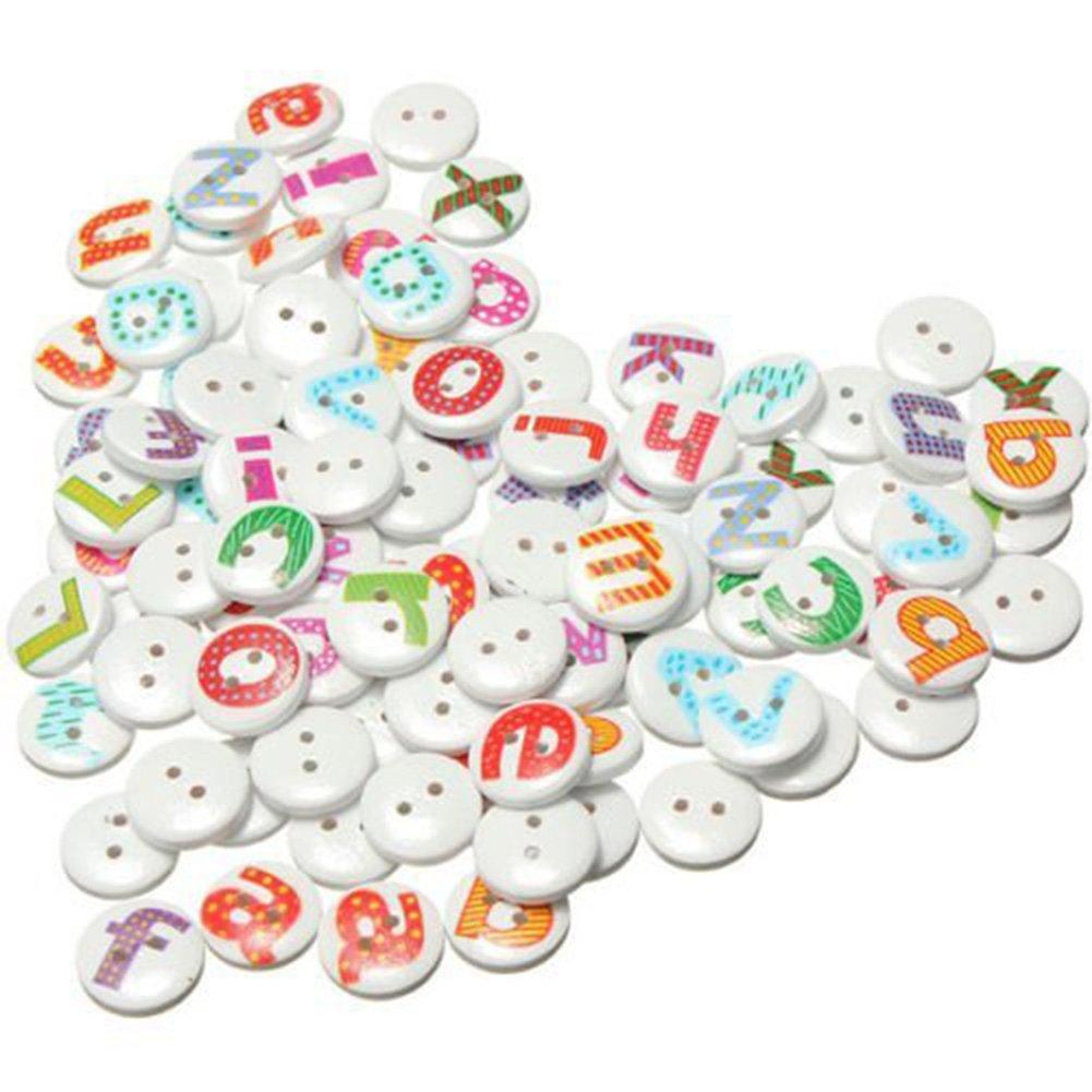 Outflower 100pcs alfabeto inglese pulsanti 2fori bottoni in legno per bambini carino rotondo decorazione bottoni per cucire/scrapbooking/fai da te a mano–bianco 15mm