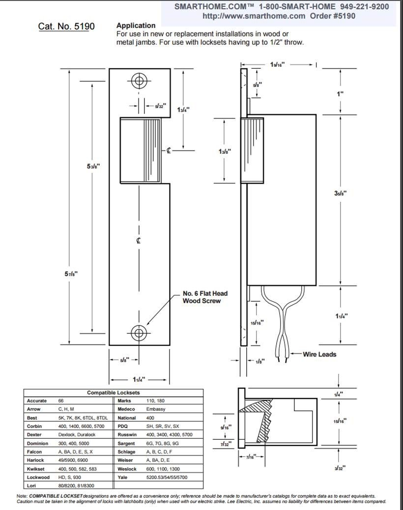 Schlage Series 300 Wiring Diagram Free Download Sargent Lee Electric 220 12 Volt Dc Door Strike Alarms Amazon Com Also With 24