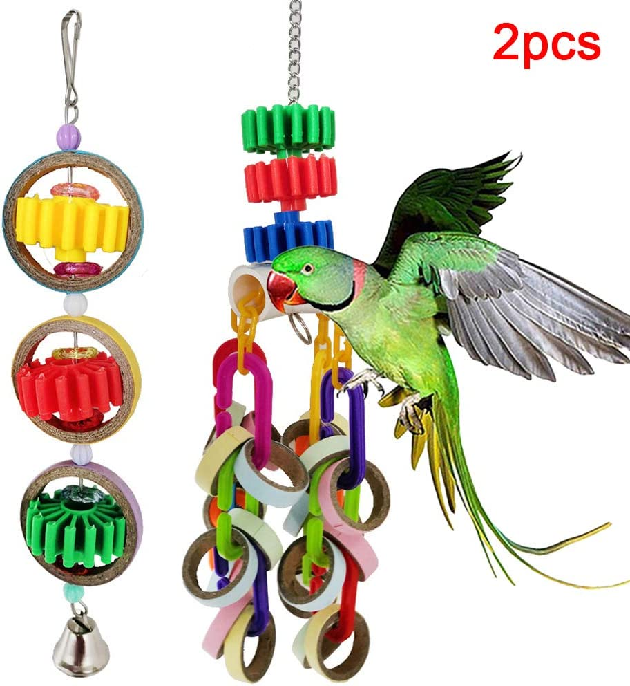 pengyu- Juguete para pájaros, 2 Anillos de Papel para Loro para Mascotas, Bloques de Campana, Jaula para Colgar, Columpio Jugando a Masticar Juguete