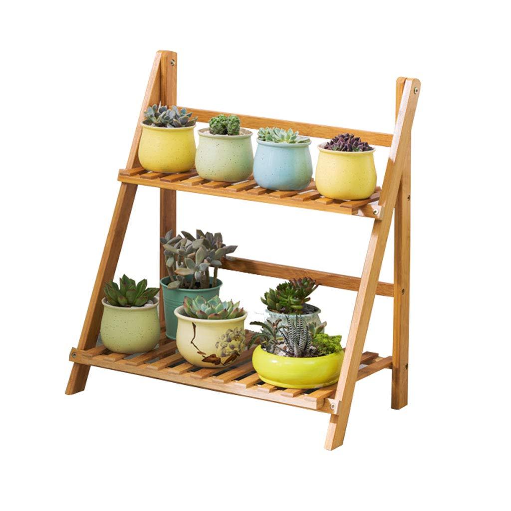 LIYANHJ Plant Stand Rack Shelf 2-Tier Bamboo Pieghevole Vaso di Fiori Rack scaffali organizzatore della piantatrice per Giardino Esterno Coperto