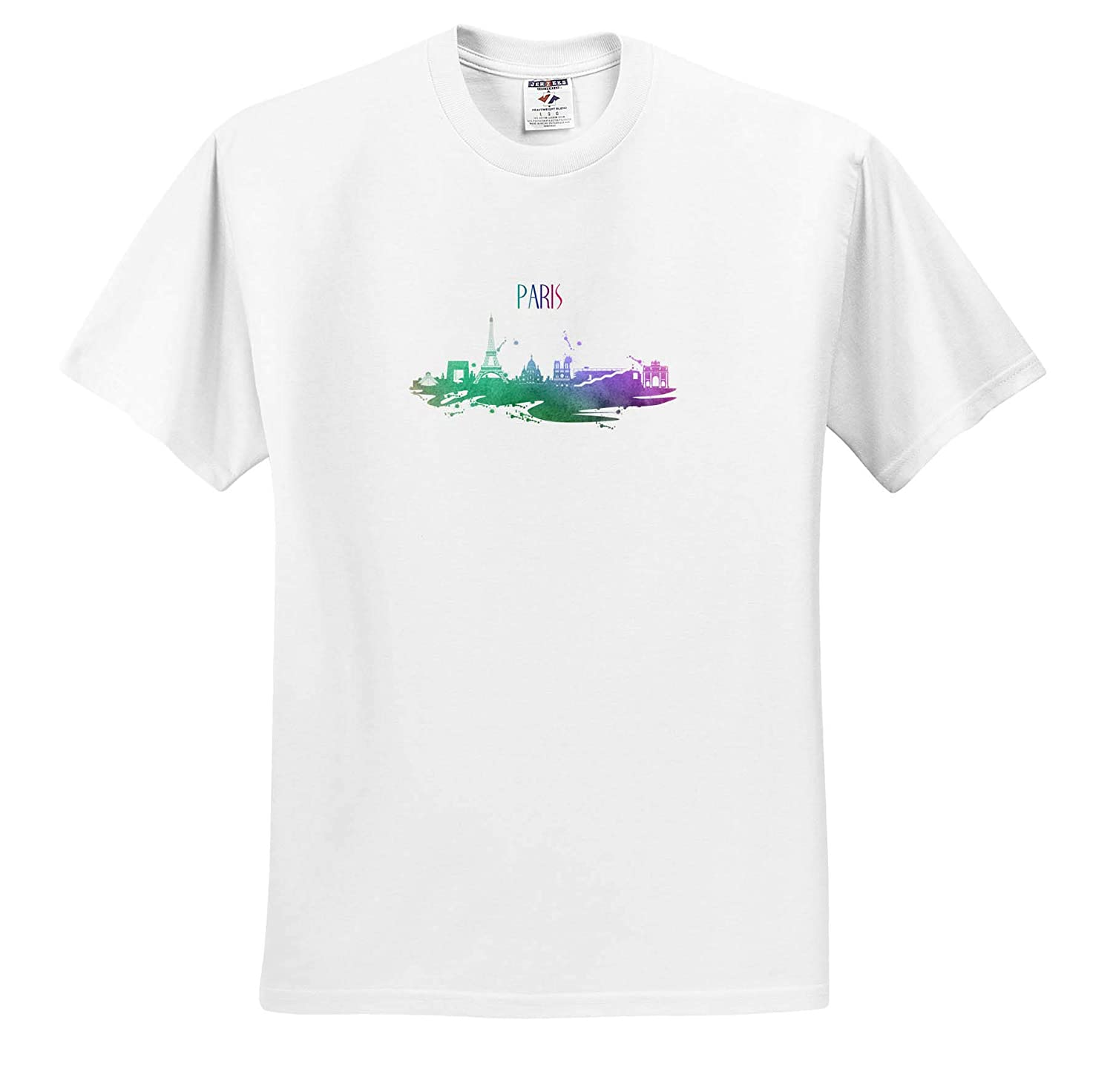 3dRose Sven Herkenrath City Adult T-Shirt XL Paris France Skyline with Watercolor Style Europe ts/_311008