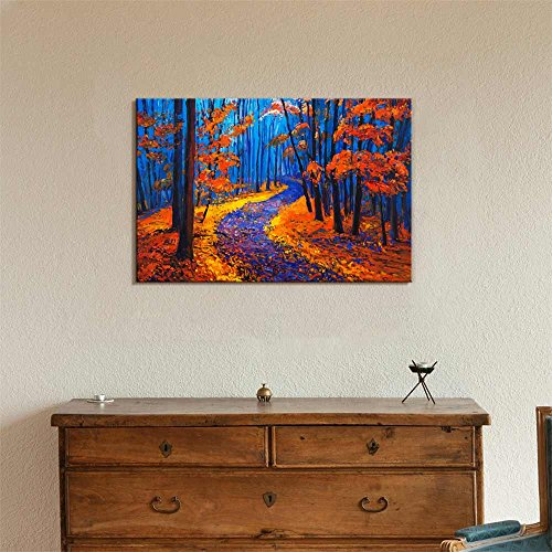 Original Oil Painting Showing Beautiful Autumn Forest