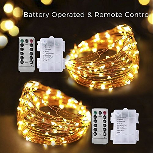 100 LED Copper Wire Starry String Lights with 8 Modes Remote Control 3AA Battery Operated, 33 Feet (Warm White, 2 (1 Light Wire Frame)