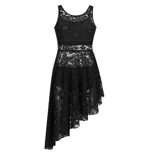iEFiEL Kids Big Girls Irregular Ballet Dress Skirt Contemporary Lyrical  Ballroom Dance Leotard Costume Black 3Pcs 04032711e5be