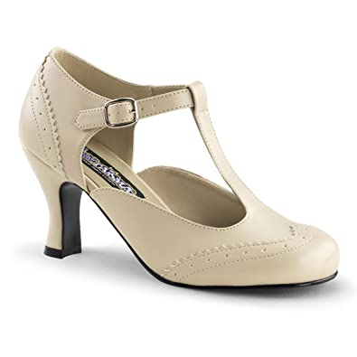 587af954711 Summitfashions Womens 3 Inch Low Heels Pumps with T-Strap Detail Cream  Office Shoes Size