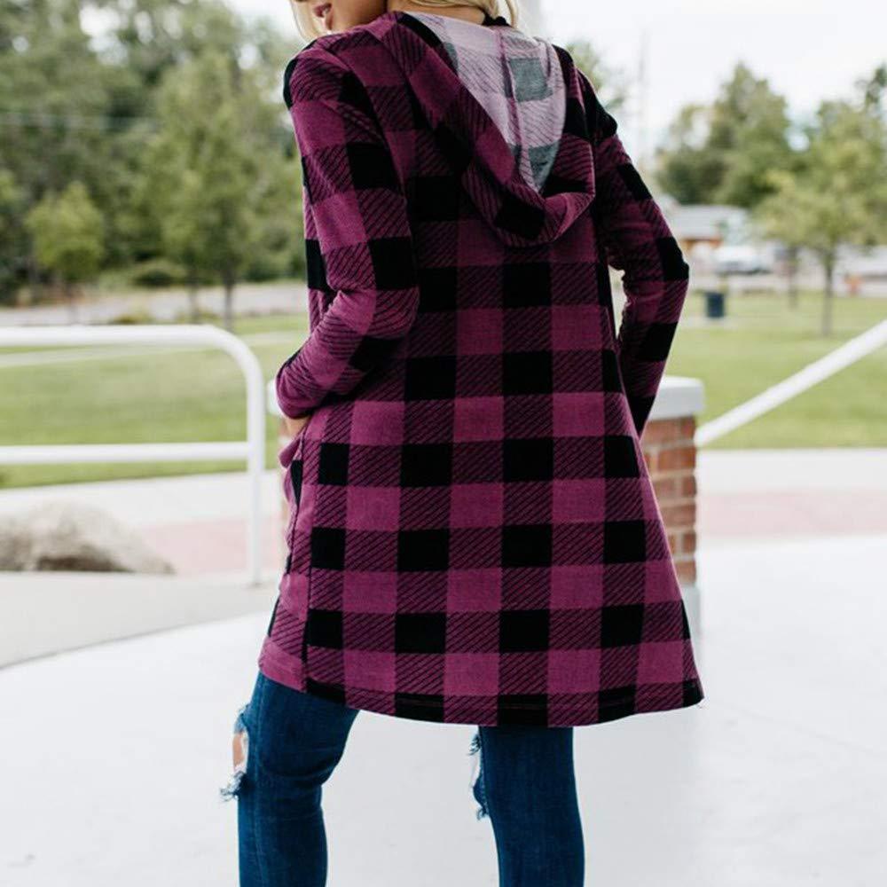 Kulywon womens plaid coats Womens Autumn Winter Pocket Lattice Long Sleeve Print Fashion Coat