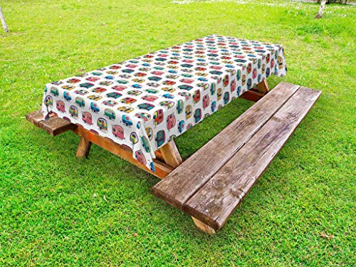(Lunarable Cars Outdoor Tablecloth, Vintage Travel Trailers Colorful Vehicles with Geometric Patterns Camping Holiday, Decorative Washable Picnic Table Cloth, 58 X 84 Inches, Multicolor)