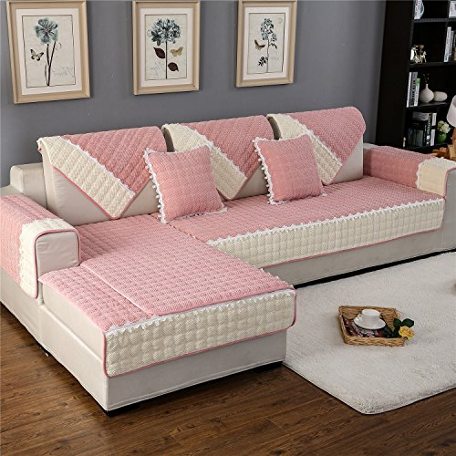 "OstepDecor Multi-size Rectangular Quilted Furniture Protector and Slipcover for Pets, Kids, Dogs - Sofa, Loveseat, Recliner and Chair | Pink 36""W x 70""L (90 x 180cm)"