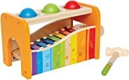 Hape Pound & Tap Bench with Slide Out Xylophone - Award Winning Durable Wooden Musical Pounding Toy for Toddlers, Multifunct