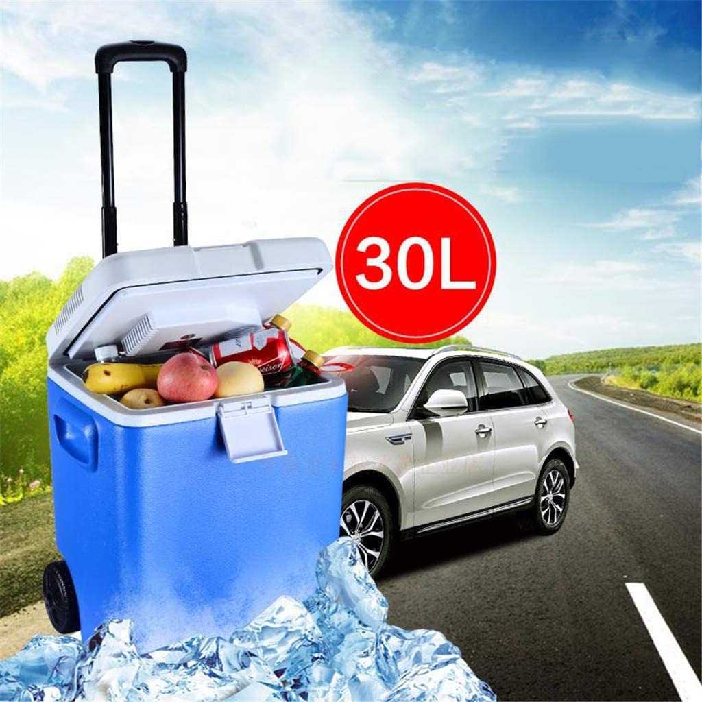 LQ-Mini Fridge Wheeled Electric Cooler and Warmer, 30 L Portable Car Refrigerator with AC+DC Power Plug for Truck Party, Travel, Picnic Outdoor, Camping, Home, Office,24V