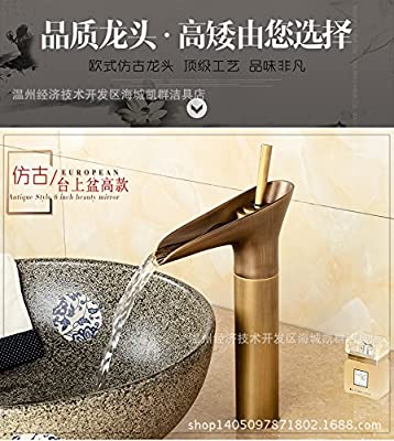 Ling@ Continental Antique Faucet Basin Faucet Waterfall Mixer Kitchen Faucet Spring Tap Draw