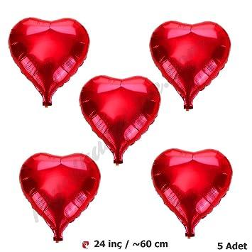 c1d2e0188ca3d Kırmızı Kalp Folyo Balon 60 cm (5 adet)  Amazon.com.tr  Parti Şöleni