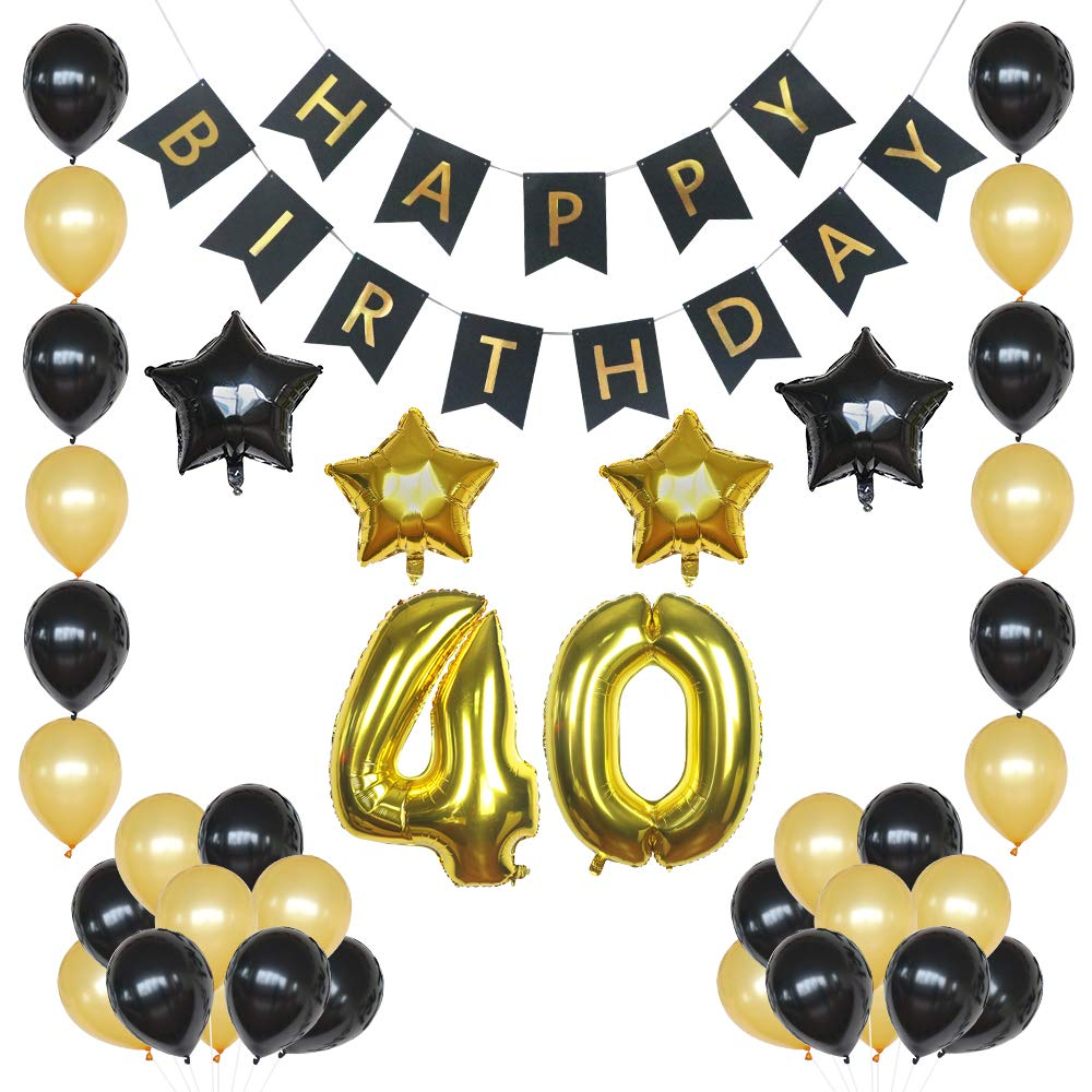 Amazon 40th Birthday Decorations Balloons Black And Gold Forty Balloon Set Perfect Supplies For Men Women
