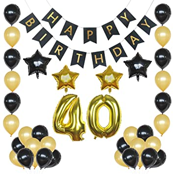 40th Birthday Decorations Balloons Black And Gold Forty Balloon Set