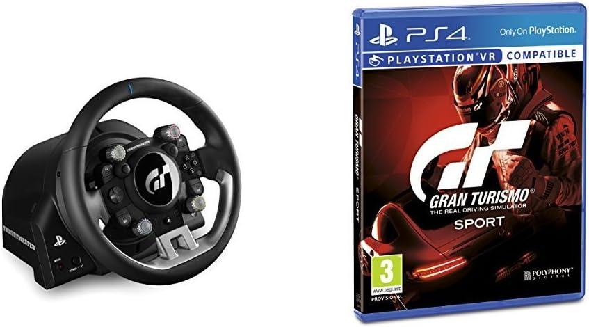 Sony Thrustmaster T-GT - Volante de carreras para PS4 / PC con licencia oficial Gran Turismo Sport - 3 Pedales - Force Feedback + Gran Turismo Sport - Edición Estándar: Amazon.es: Videojuegos
