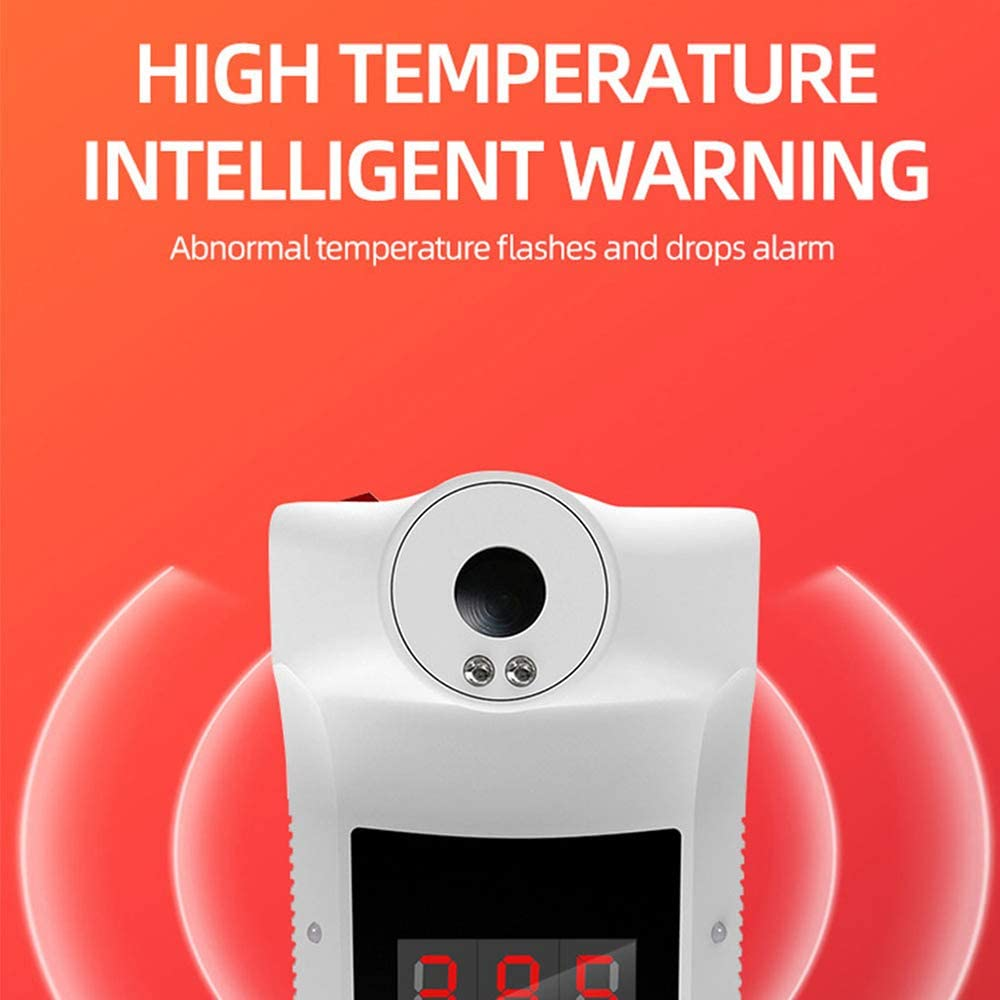 Automatic Wall-Mounted Infrared Temperature Measuring Instrument Non-Contact Digital Temperature Scanner with Voice Fever Alarm for Home Office Supermarket School