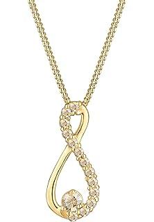 Elli Damen Halskette mit Infinity Anhänger Unendlichkeit und Swarovski  Kristallen in 925 Sterling Silber 45 cm 684031443d