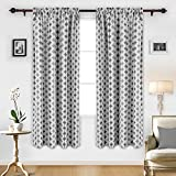 Deconovo Blackout Blinds Drapes Print Rod Pocket Panels Blackout Curtains for Living Room 52X84 Inch Grey Two Panels For Sale