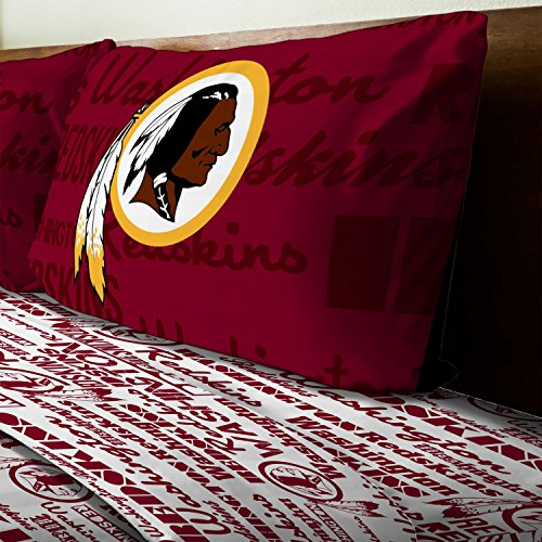 Northwest 3pc NFL Washington Redskins Twin Bed Sheet Set Football Team Anthem Bedding (Washington Redskins Bed Set)
