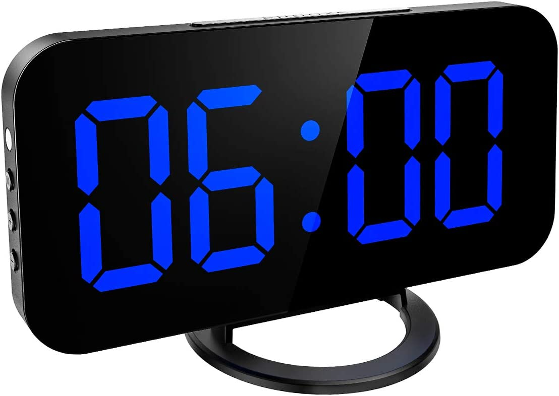 """KeeKit Digital LED Alarm Clock, Large 6.5"""" Mirror Surface Alarm Clock with Dual USB Charging Ports, Snooze Function, Auto/Manual Adjustable Brightness, 12/24H Display for Home, Bedroom, Office - Blue"""