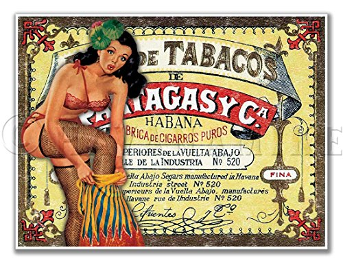 (Cuban Cigar Art Print Vintage Style PINUP GIRL Poster PARTAGAS - measures 24
