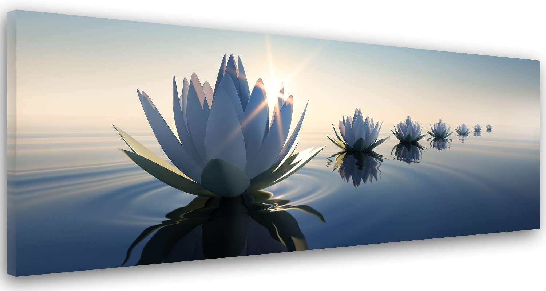 Feeby. Cuadro en Lienzo, Imagen impresión, Pintura decoración, Canvas de una Pieza, 150x50 cm, Lirio DE Agua, Flores, Naturaleza, Azul