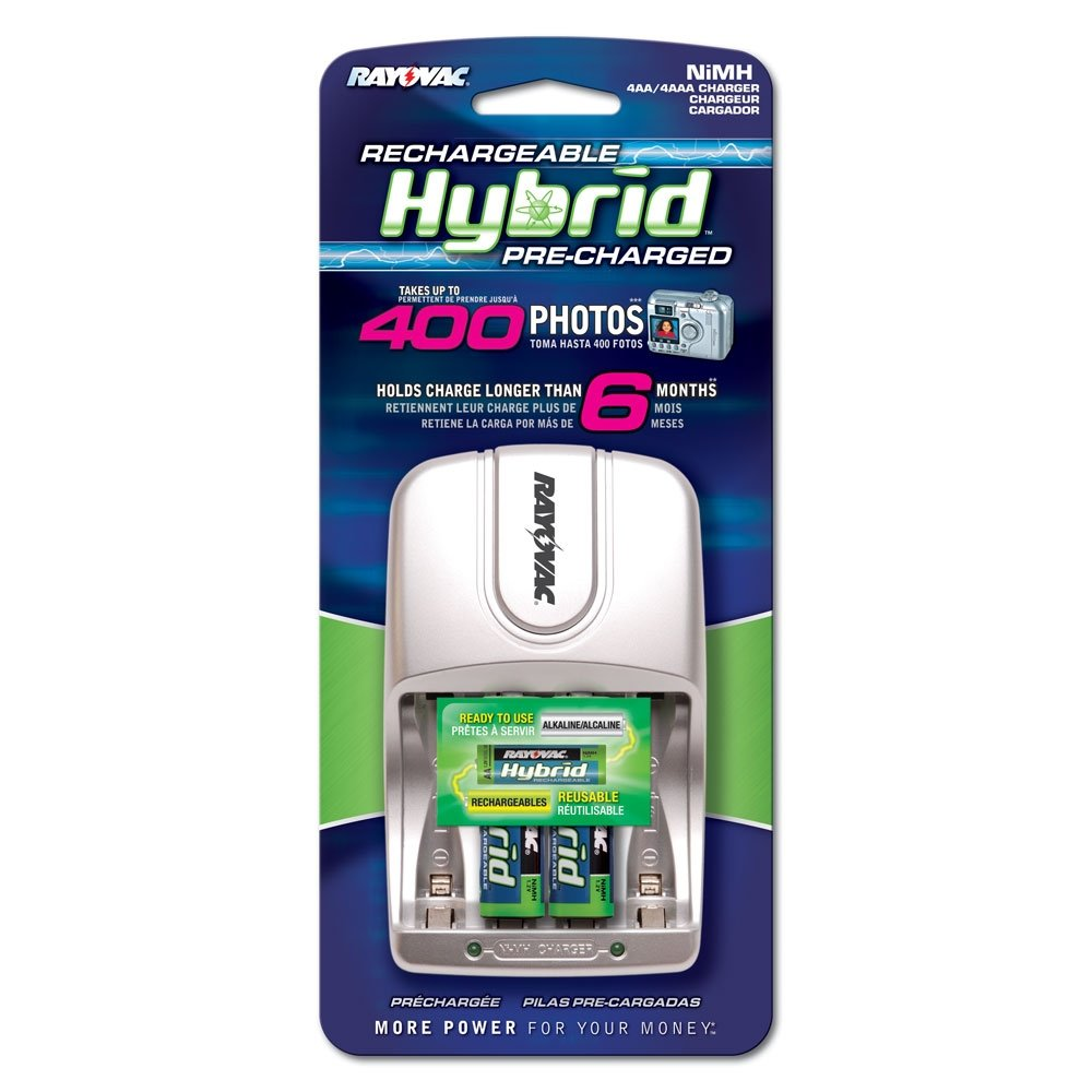 Rayovac Rechargeable Hybrid Charger (AA/AAA) With 2 AA Hybrid (Pre-Charge) Nimh Batteries (Pack of 2)