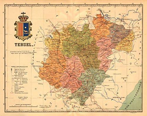 Teruel Aragón. Mapa Antiguo de la Provincia. Alberto Martin – C1911 – Old Antiguo Mapa Vintage – Mapas de Impreso de España: Amazon.es: Hogar