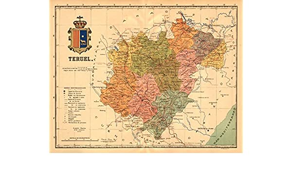 Amazon Com Teruel Aragon Mapa Antiguo De La Provincia Alberto