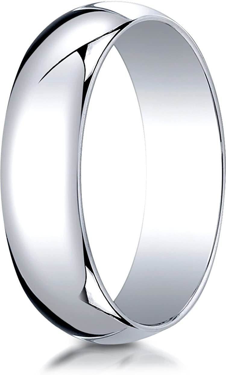 Sizes 4-15 Benchmark 10K White Gold 6mm Slightly Domed Traditional Oval Wedding Band Ring