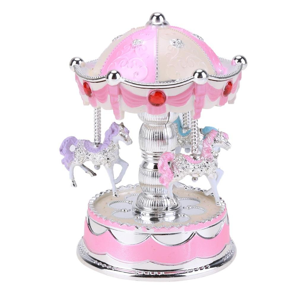 Asiproper 3-Horse Carousel Music Box with Lights Rotating Merry-Go-Round Toys Kids Christmas Birthday Gifts (Pink)