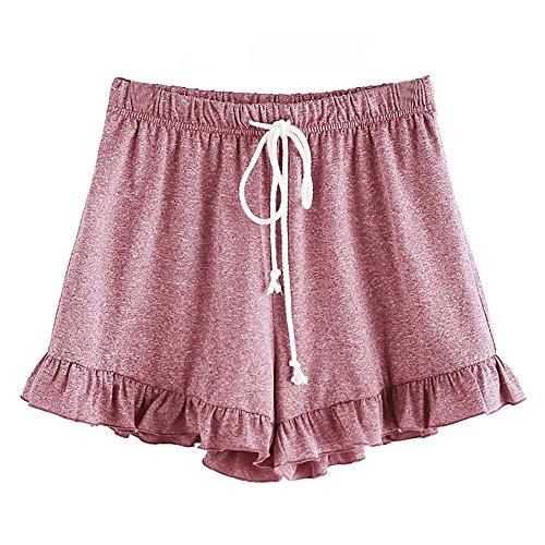 Hot sale Farjing Womens Rope Straps Mid Waist Elastic Loose Shorts Waist Ringer Shorts Pants(S,Pink) ()