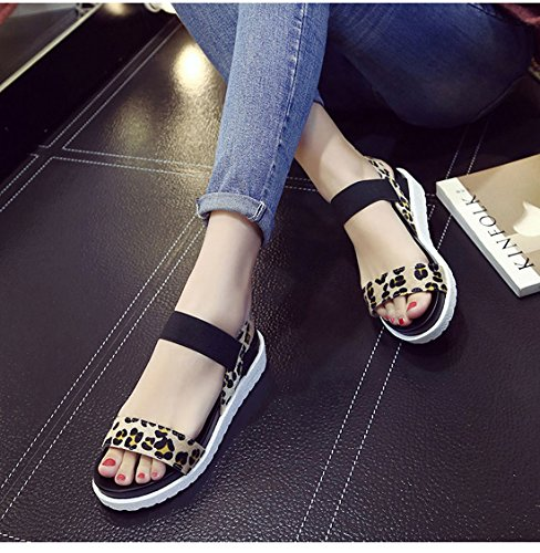 Women Lady Leopard Open Toe Ankle Strap Platform Sandals Wedge Heel Slip On Shoe Black ovL4pfGcWF