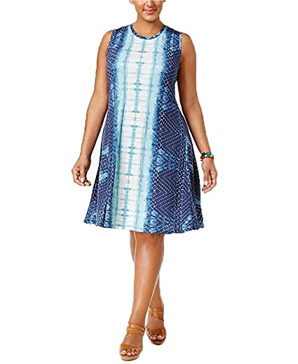 b3039d550967e Style & Co. Plus Size Printed Swing Dress (1X, Sea Isle Stroll) at ...