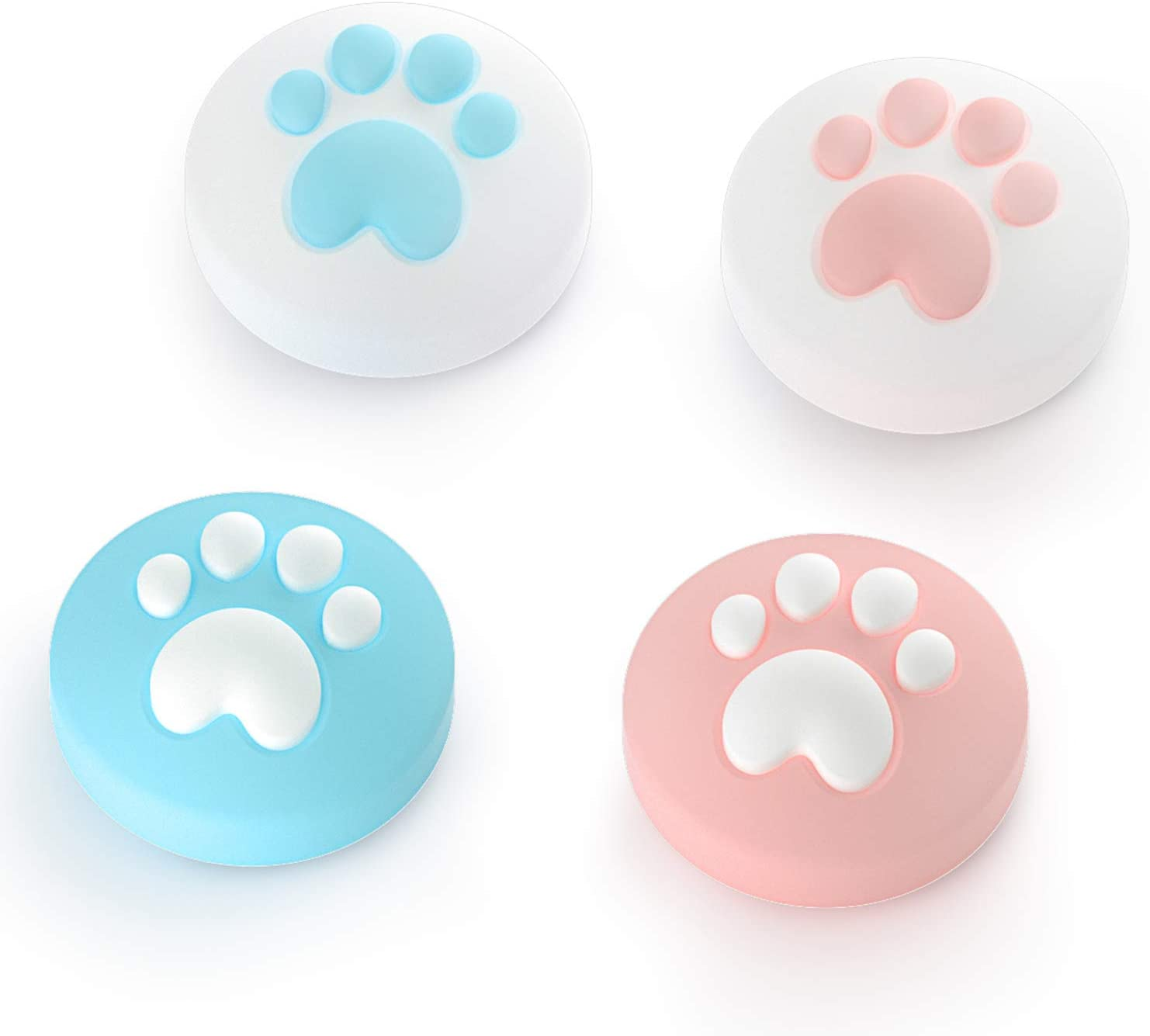 LeyuSmart Cat Claw Design Thumb Grip Caps, Joystick Cap for Nintendo Switch & Lite, Soft Silicone Cover for Joy-Con Controller ( Pink&Blue)
