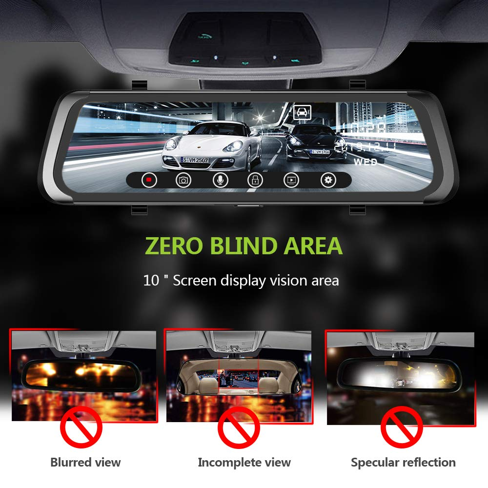 Reverse Monitor System 【2019 New Version】 Mirror Dash Cam 10 Inches Touch Screen Full HD 1080P Car camera with Emergency Recording Wide Angle Front Camera and Waterproof Rear Camera